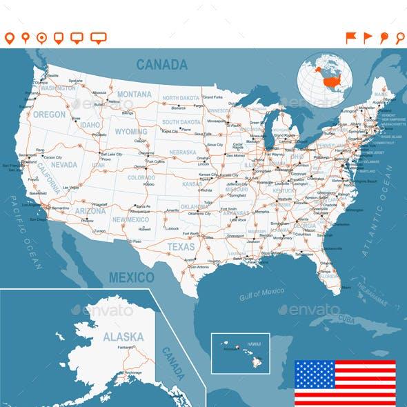 USA Map, Flag, Navigation Labels, Roads.