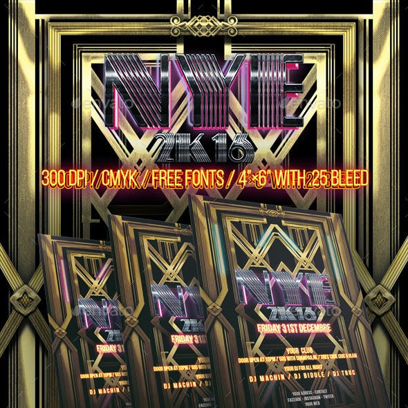 New Year Art Deco Style - PSD Flyer
