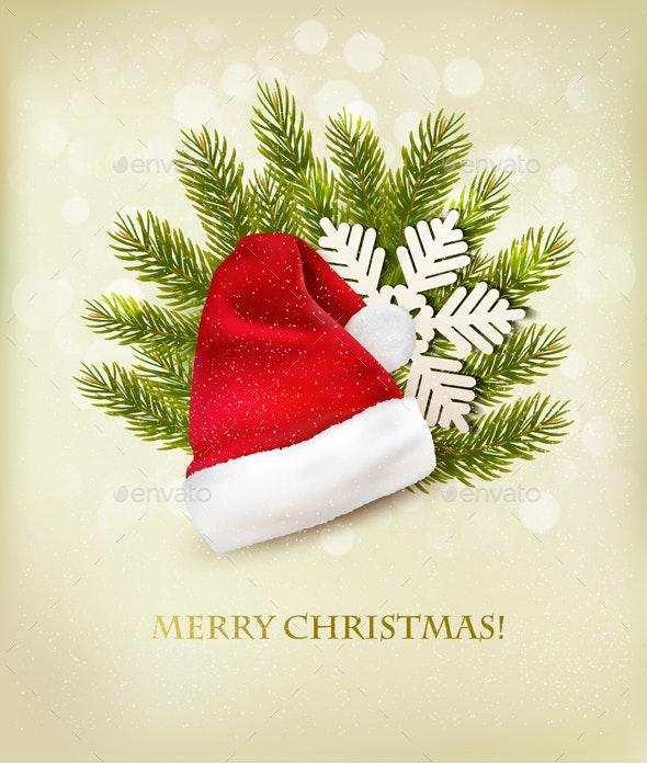 Holiday Background With A Santa Hat And Christmas  - Christmas Seasons/Holidays