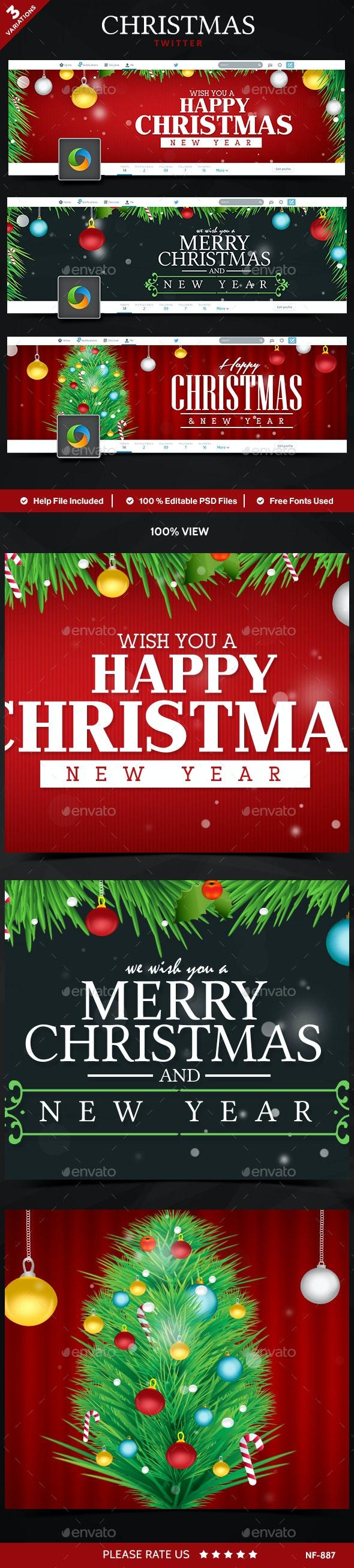 Christmas Twitter Headers - 3 Designs - Twitter Social Media