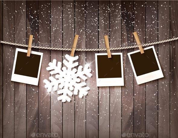 Retro Holiday Christmas Background With Snowflake  - Christmas Seasons/Holidays