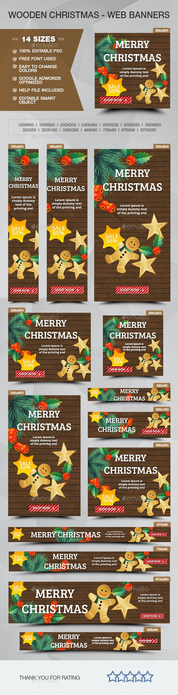 Wood Christmas Sale - ADS Banners - Banners & Ads Web Elements