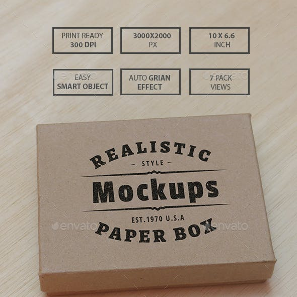 Cardboard Box Realistic Mockups