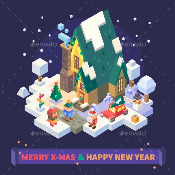 Christmas and New Year Isometric House. - Christmas Seasons/Holidays