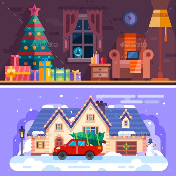 Nice Cozy Xmas Interior. - Christmas Seasons/Holidays