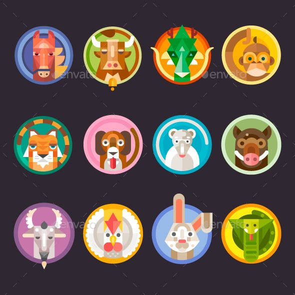 Chinese Horoscope Animals Isolated.