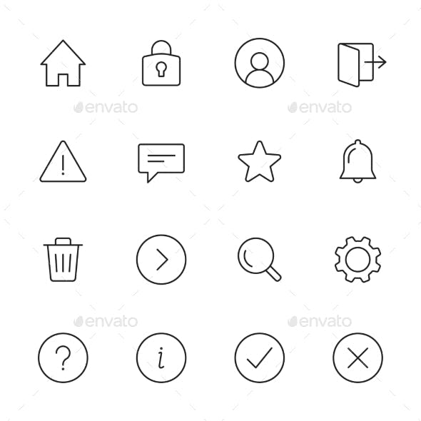 Basic Interface Line Icons