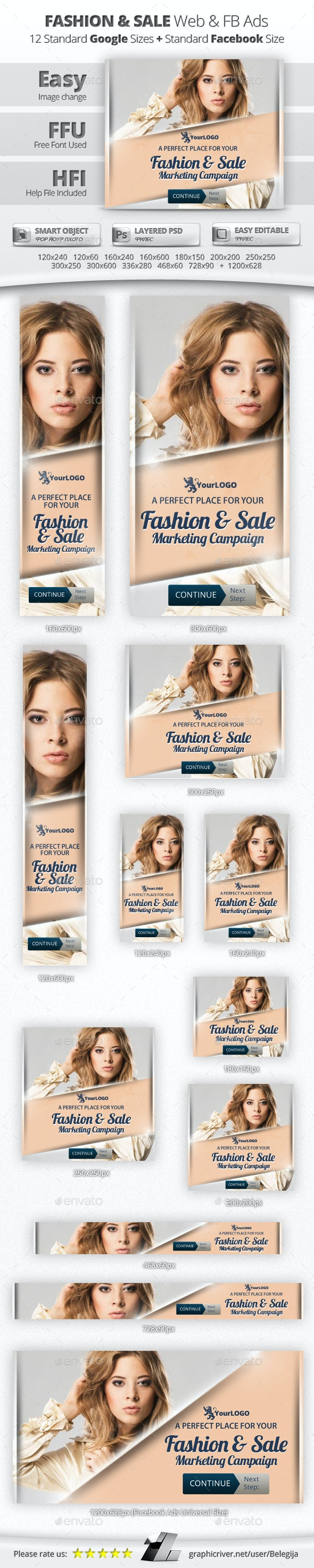 Fashion & Sale Web & Facebook Banners - Banners & Ads Web Elements