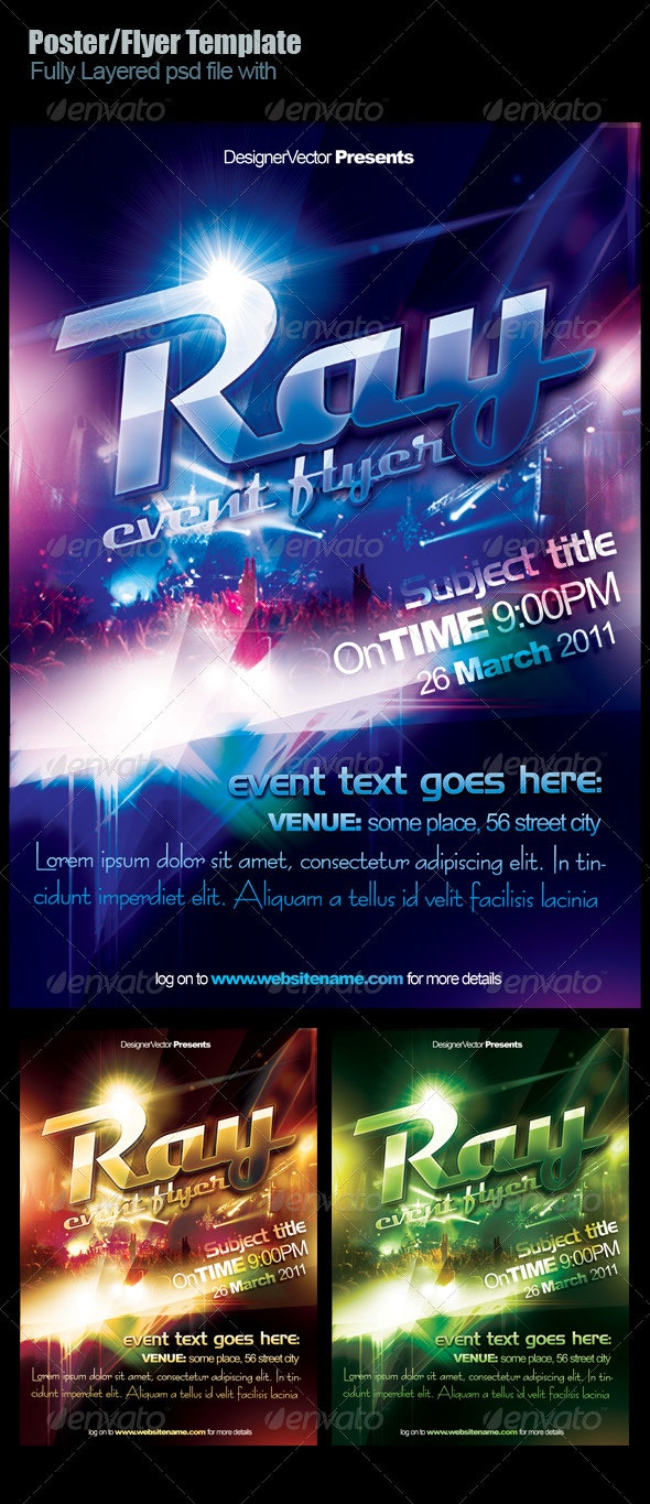 Ray Flyer/Poster template - Clubs & Parties Events