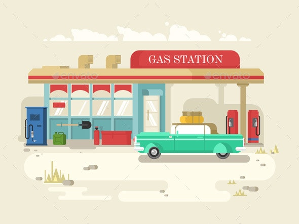 Gas Stantion Retro Flat Design - Travel Conceptual