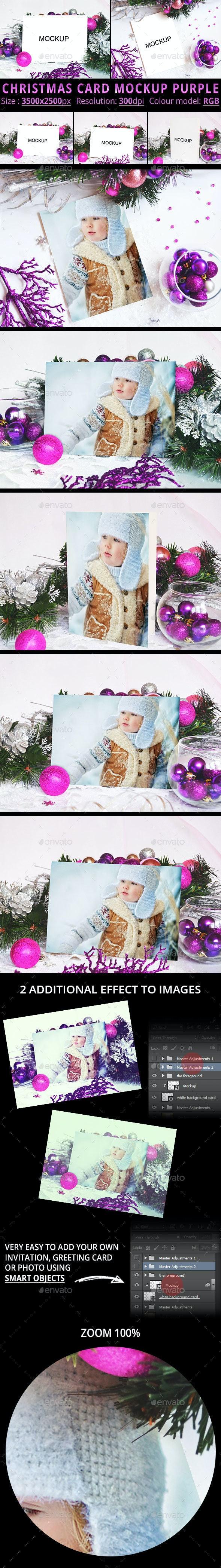 Christmas Card Mockup Purple - Print Product Mock-Ups