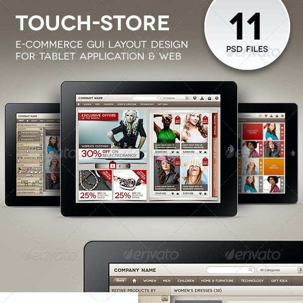 Touch-Store Ecommerce GUI for Tablet Apps & Web