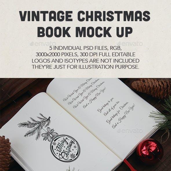 Vintage Christmas Book Mock Up