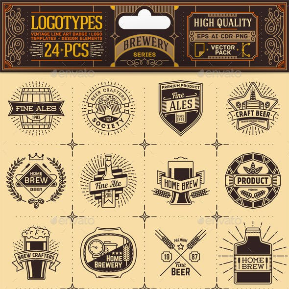 Brewery Thin Line Badges and Logos. Vector Pack.