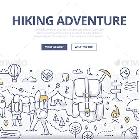 Hiking Adventure Doodle Concept