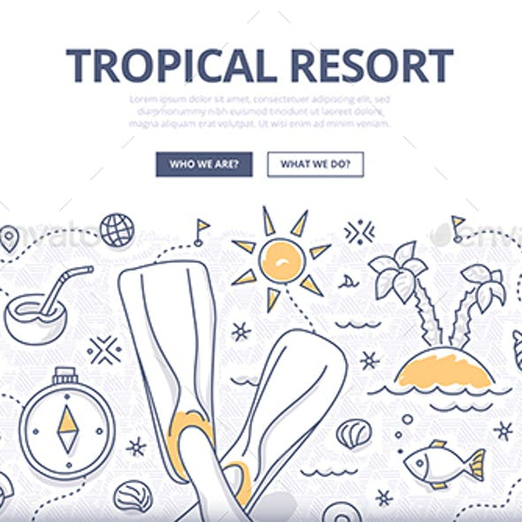Tropical Resort Doodle Concept