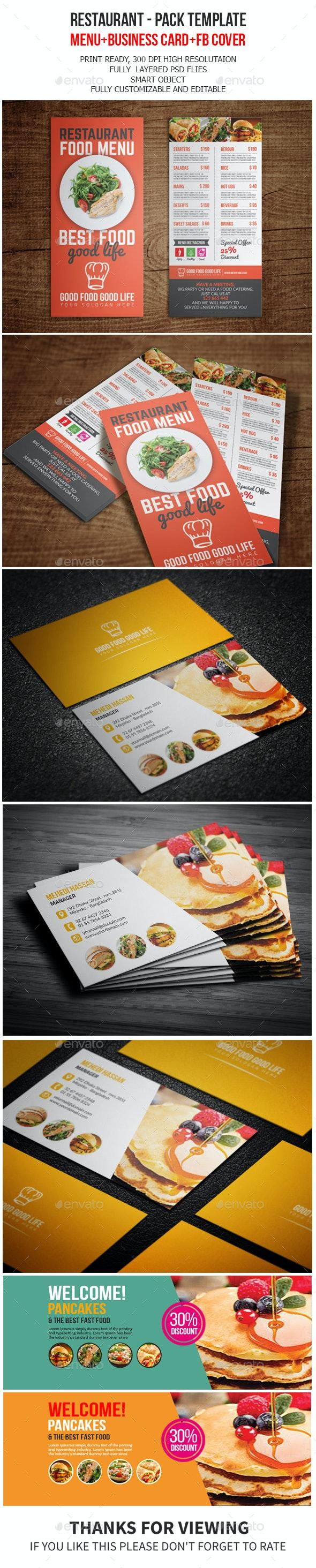 Restaurant Pack Template - Food Menus Print Templates