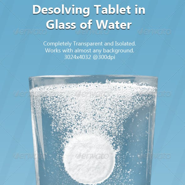 Tablet in Isolated & Transparent Glass of Water