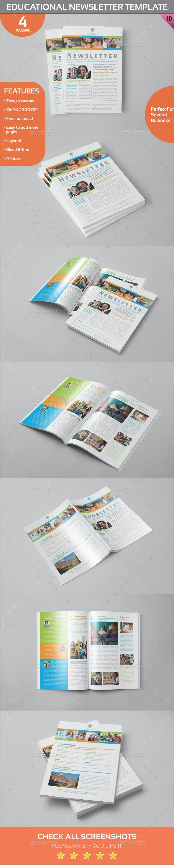 Educational Newsletter Template - Newsletters Print Templates