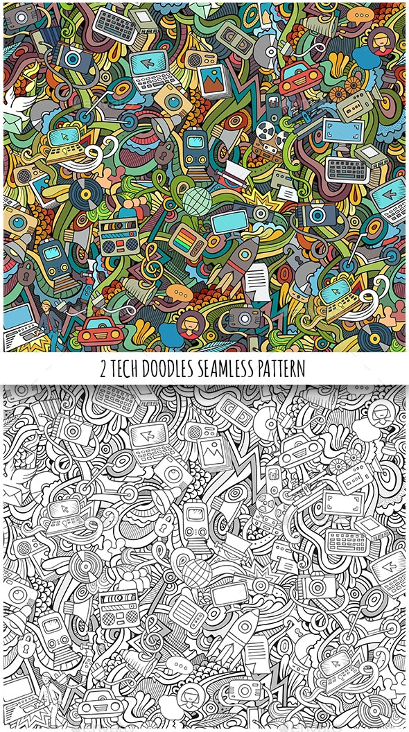 2 Technical Doodles Seamless Patterns - Computers Technology