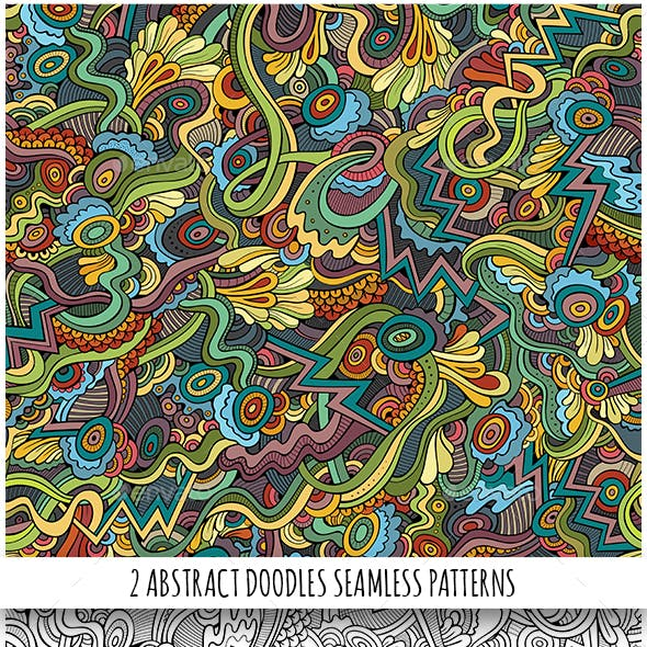 2 Fantasy Doodles Seamless Patterns