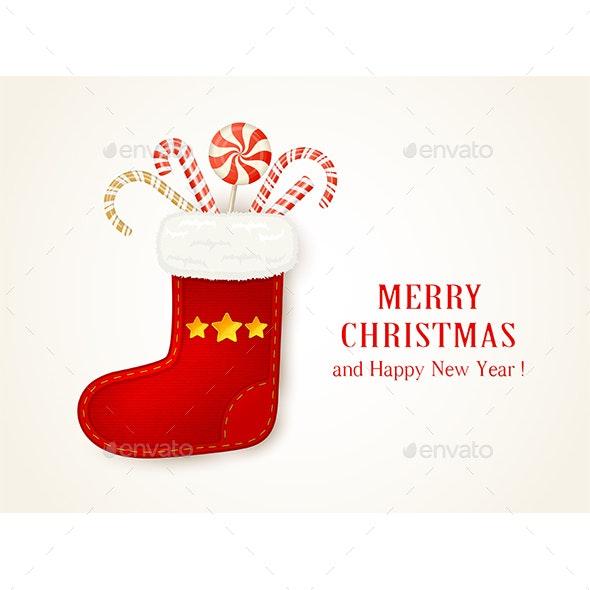Red Christmas Sock with Candy Cane - Christmas Seasons/Holidays