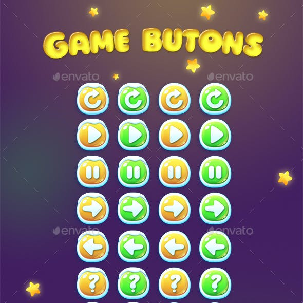 Chistmas and Usual Game Buttons Set
