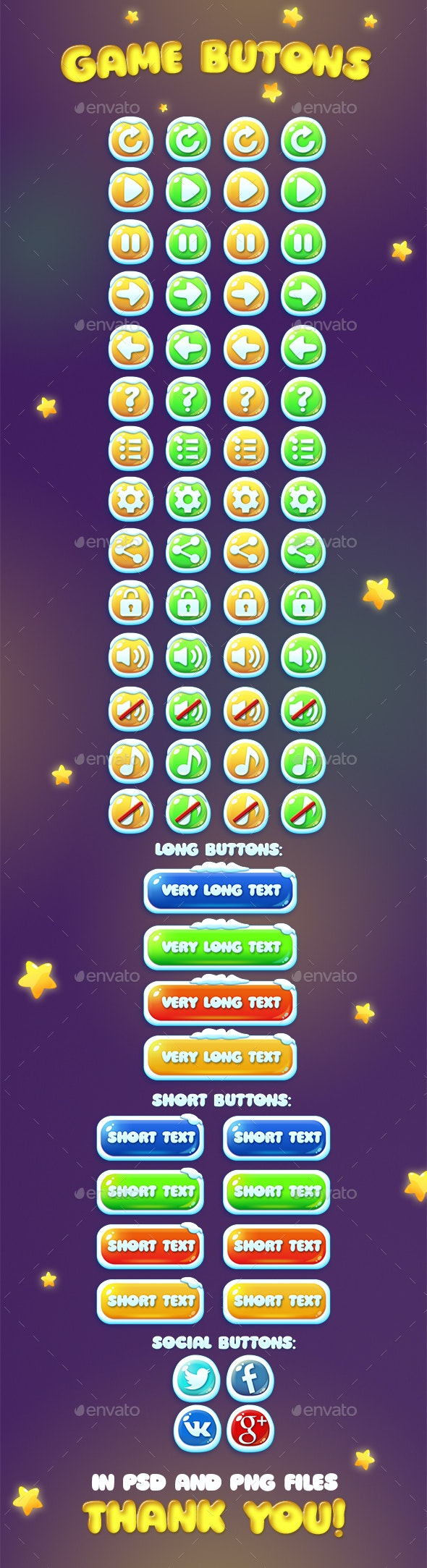 Chistmas and Usual Game Buttons Set - User Interfaces Game Assets
