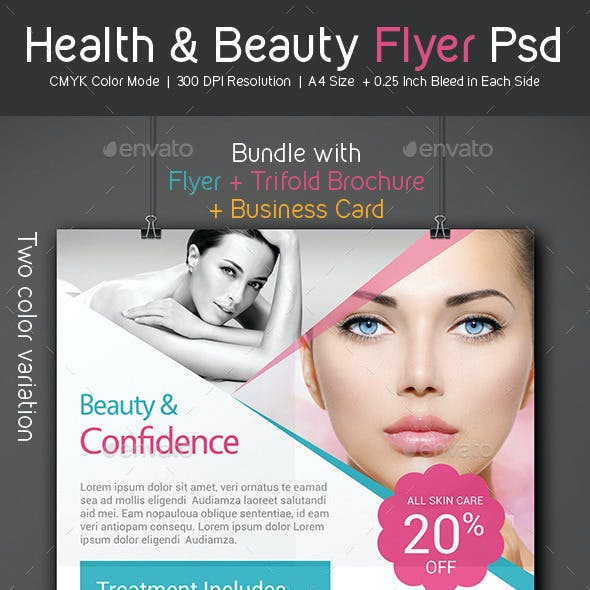 Health & Beauty Flyer - Trifold Brochure - Business Card Pack