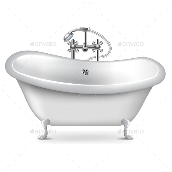 Empty Bath Isolated on White Vector - Man-made Objects Objects