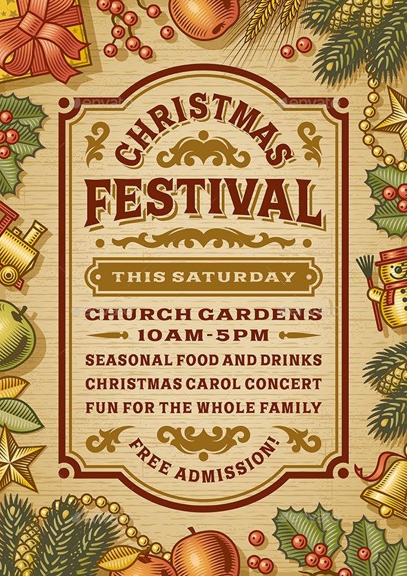 Vintage Christmas Festival Poster - Christmas Seasons/Holidays