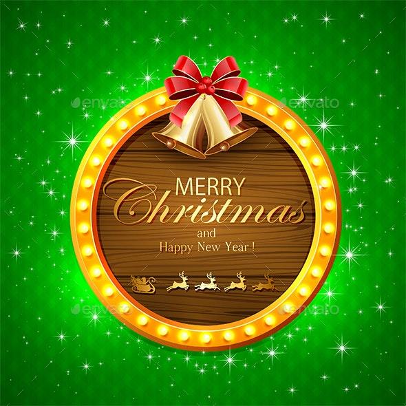 Christmas Bells on Round Banner - Christmas Seasons/Holidays