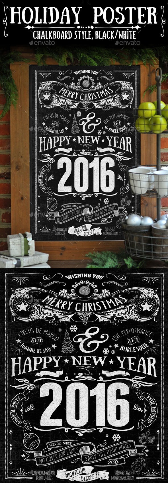 Chalkboard-Style Holiday Poster - Holidays Events