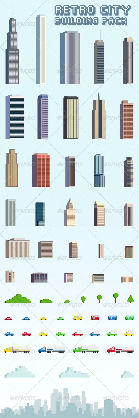 Retro City Building Pack - Backgrounds Game Assets
