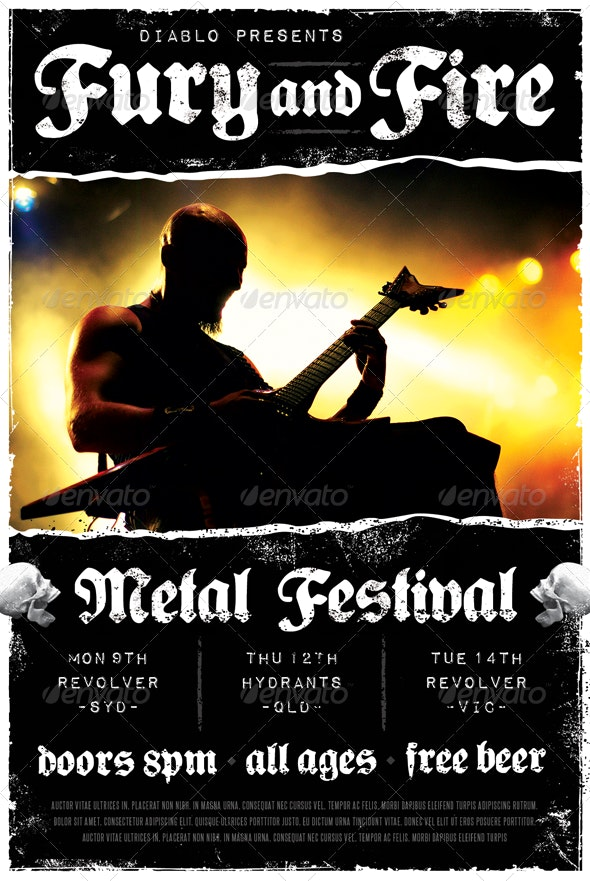 Fury and Fire - Heavy Metal Flyer - Clubs & Parties Events