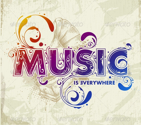 Hand drawn music lettering - Vectors
