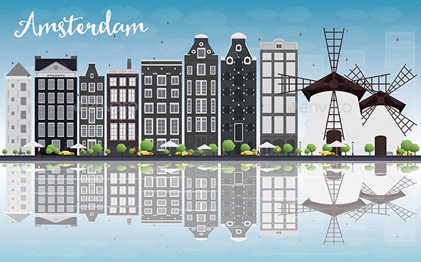 Amsterdam City Skyline with Gray Buildings - Buildings Objects
