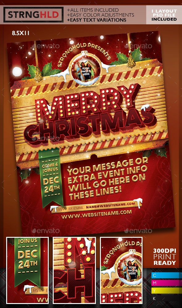 Vintage Christmas Flyer Template - Holidays Events