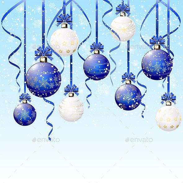 Blue and White Christmas Balls on Snowy Background - Christmas Seasons/Holidays