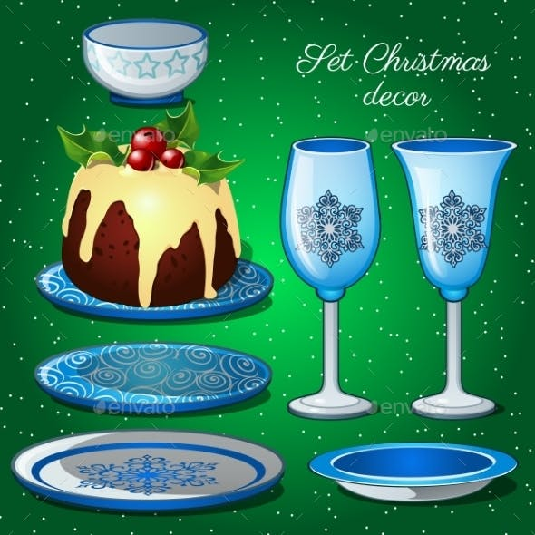 Tableware Set With Christmas Decor And Cake