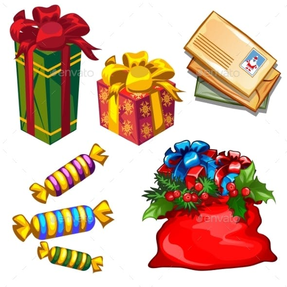 Christmas a Set Of Gifts And Letters To Santa
