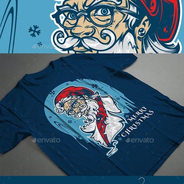 Santa Hipster T-shirt design