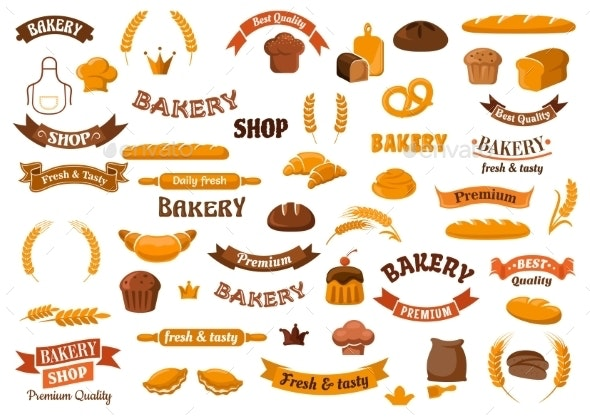 Bakery And Pastry Elements For Design - Food Objects