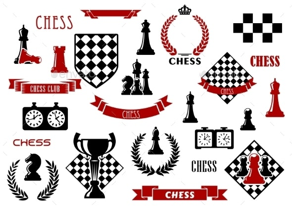 Chess Game And Heraldic Design Elements - Sports/Activity Conceptual