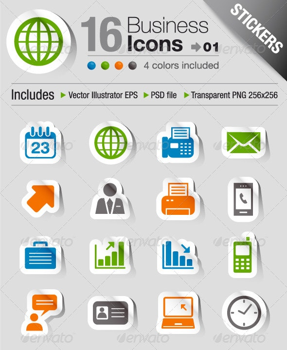 Stickers - Office And Business Icons 01 - Web Icons
