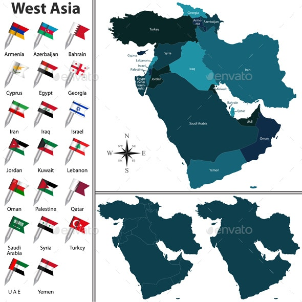 Political map of West Asia - Travel Conceptual