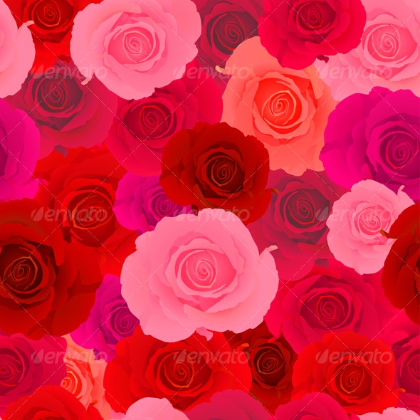 Red & Pink Rose Seamless Pattern - Backgrounds Decorative