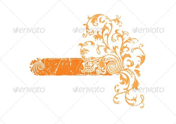 Orange grunge floral frame - Backgrounds Decorative
