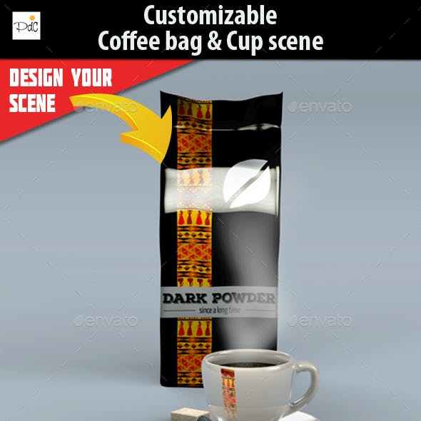 Coffee bag & cup mock-up