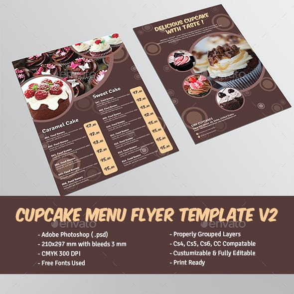 Cupcake Menu Flyer Template V2
